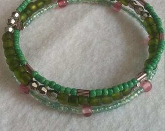 3 Tier Green Bangle Bracelet