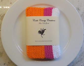 The Perfect Dish Cloth, 100% Cotton, Hand Knit Dish Cloth, Set of Four, Orange, Pink, White