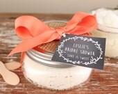 8 oz Sugar Scrub Favors - Laurel Chalkboard Tag // Bridal Shower Favors // Mason Jar Favors // Rustic Favors - All Natural - Set of 6