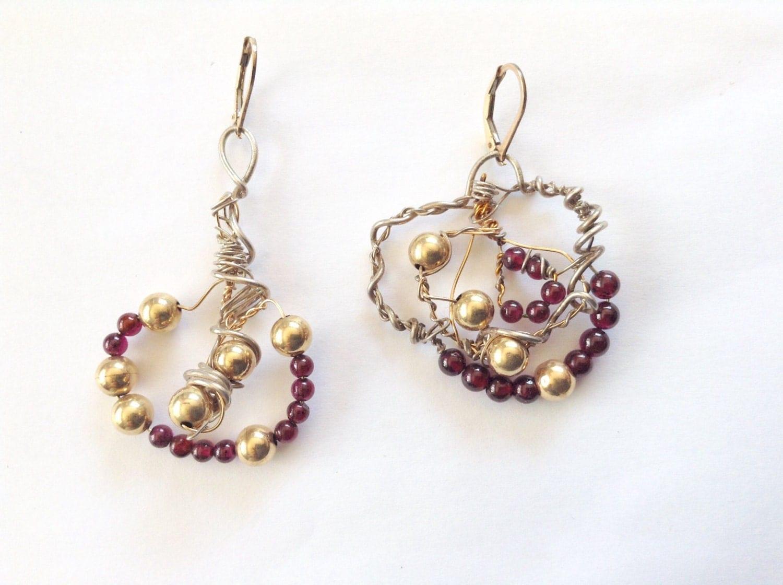 garnet beaded earrings 14k gold earrings gold earjackets