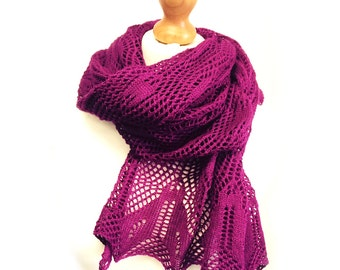 Minerva Lace Knitted Wrap or Scarf