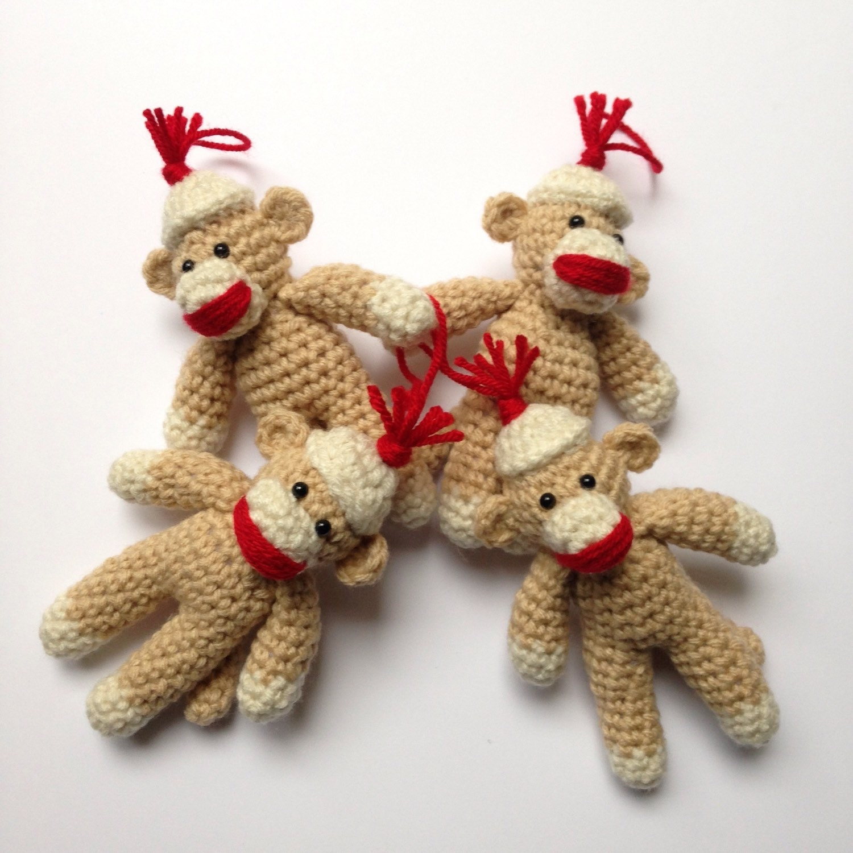 Amigurumi Crochet Sock Monkey : Sock Monkey Ornament Crocheted Amigurumi Ready by ...