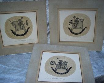 Listed ARTIST CAROL JABLONSKY Original Signed and Numbered Prints of Rocking Unicorn,Leopard and Horse