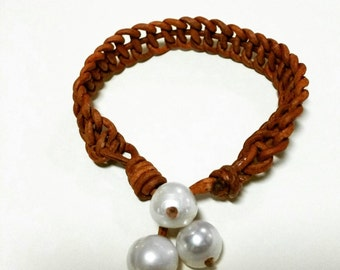 Freshwater Pearl and Leather Jewelry