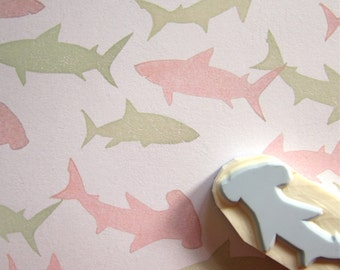 Shark Silhouettes rubber stamps - set of 3