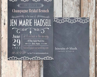Chalkboard and Lace Bachelorette Invites, Shabby Chic!