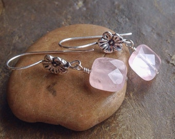 Rose quartz and sterling silver earrings, pale pink earrings, handmade, gemstone jewelry