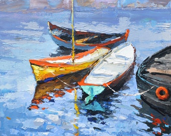 "Lonely boat - oil painting on canvas by Dmitry Spiros, 26""x40"", (65x100cm.)"