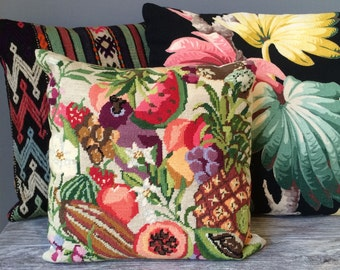 Needlepoint Tropical Fruit Decorative Pillow, Hand Stitched Wool