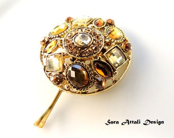 Amazing Vintage Style Pin with Browns Stones, Bobby Pins, Bronze Clip, Hair Accessories, Cabochon,Filigree Hair Clips