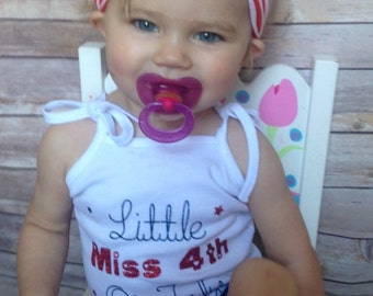 4th of July Tank Top/Personalized Fourth of July Tank Top/ Little Miss 4th of July Tank Top/Red, White and Blue Tank Top