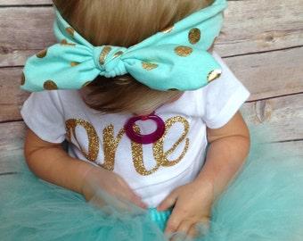 Aqua First Birthday Outfit | Aqua 1st Birthday Outfit | Gold and Aqua Birthday | 1st birthday girl outfit