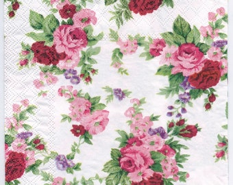 Decoupage Napkins | Winsome Red Roses | Rose Napkins | Flower Napkins | Floral Napkins | Romantic Napkins | Paper Napkins for Decoupage