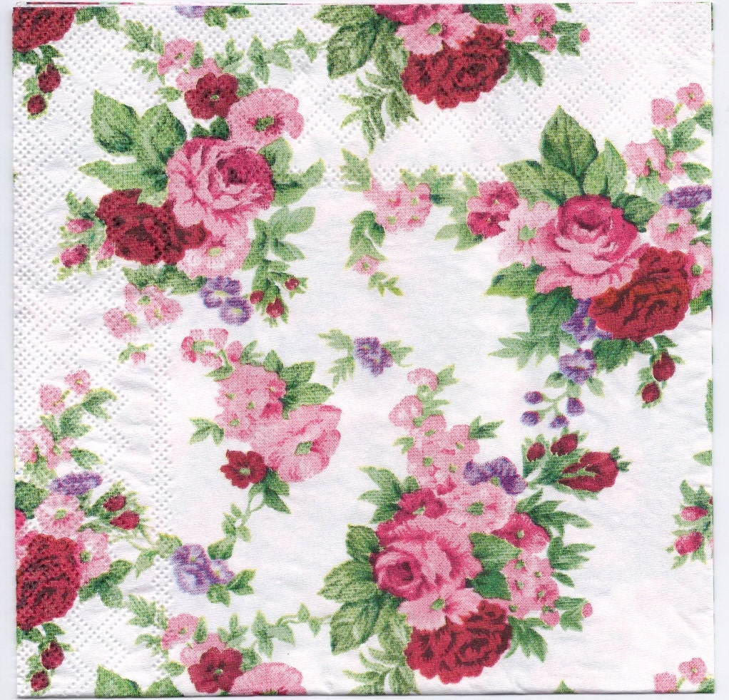 Decoupage Napkins Winsome Red Roses Rose Napkins Flower