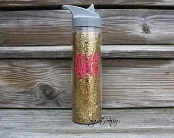 Personalized Water Bottle Sports Bottle 18 ounce Gold Glitter Monogrammed Water Bottle
