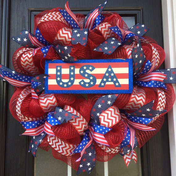 Patriotic Wreath 4th Of July Deco Mesh Wreath Red By Snappypea