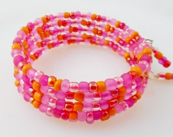 Hot Pink and Orange Memory Wire Bracelet/ Wrap Bracelet