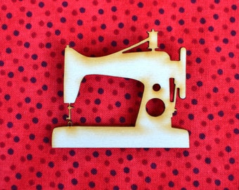 Sewing Machine - Wooden Brooch