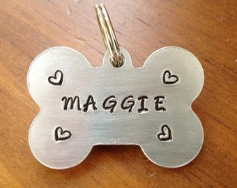 Pet id tag, dog id tag , dog tag for dogs, Dog bone tag, personalized id tag,  Pet tag with hearts, custom pet tag,