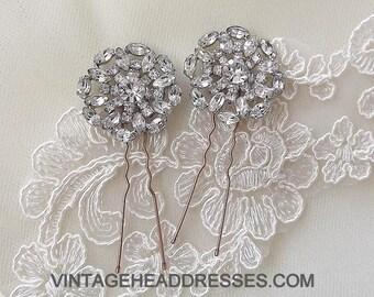 Pair Vintage 1940's Hair Pins - Vintage Rhinestone Wedding Hairpins - Vintage 1940 Diamante Hair Pins - Bridal Hair Accessories - Hair Grips