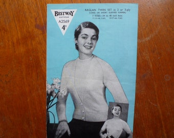 Original 1950s knitting pattern Bestway A2569 raglan twin set 2 or 3 ply wool