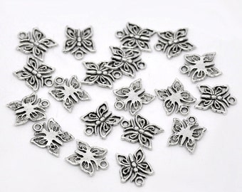 5 Antiqued Silver Butterfly Charms - 15x12MM