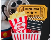 Movie Night Centerpieces; Movie Night Party Centerpieces; Movie Night Birthday Party Centerpieces Printed, Cut, and Shipped to you!!