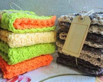 Dishcloths 100 % Cotton Crochet Washcloths - Set of Four