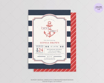 Ahoy Nautical Baby Shower Invitation Card - DIY Printable Digital Party File - Barbecue Party
