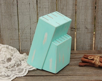 Knife Block, Upcycled, Shabby Chic, Hand Painted, Mint Green, Steak Knife