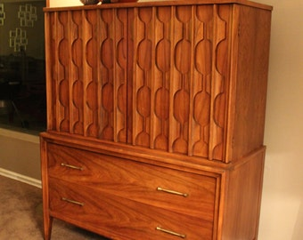 Totally stunning and super rare two tone Kent Coffey highboy dresser