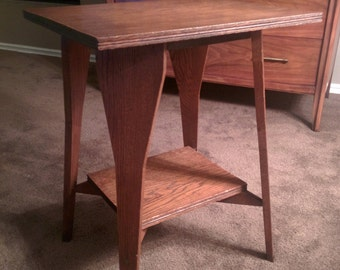 Authentic antique primitive arts and crafts mission side accent two tier table