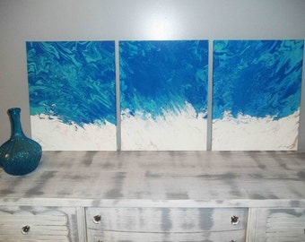 Large Abstract Painting, Wall Art, Acrylic Painting, Canvas Painting, Blue and Green, Landscape Painting, Original Painting, Set of 3 20x48