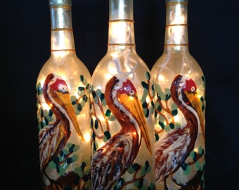 Louisiana Brown Pelican Wine Bottle Lamp