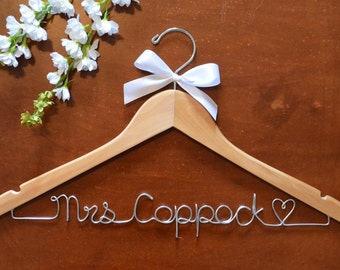 Personalized Wire Name Hangers with a bow. Wedding dress hangers, bridal party gifts