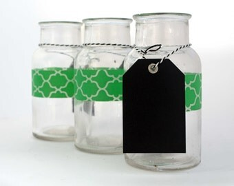 Green Glass Trio with Chalkboard Tags