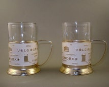 Set of 2 Vintage Russian Soviet Tea Cup Glass Holders  with Glasses