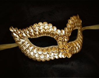 Gold Masquerade Mask With Dragon Scales -  Metallic Gold Venetian Mask - Gold Masquerade Ball Mask