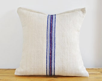 Authentic Grain Sack Pillow Cover / Hemp and cotton / Blue and Red Stripes / Handmade Pillow Sham / Handwoven herringbone pattern