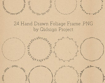 BUY2GET1FREE - 24 hand drawn foliage frames - doodle round borders -- digital frames clipart- personal and commercial use- instant download