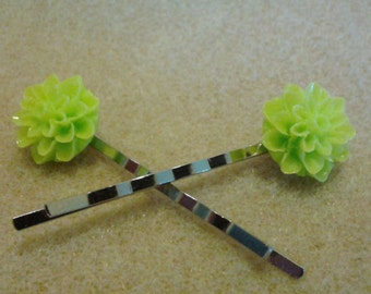 Bright Green Dahlia Flower Bobby Pin Set of 2 Wedding Hair Accessory