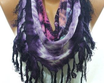 Ombre Purple Aqua Fuchsia Fringe Triangle Scarf Women Fashion Accessories Summer Scarves Summer Celebrations Summer2015 Gift Ideas For Her
