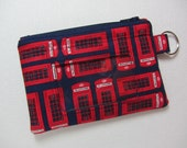 Two left! British / London Phone Box Keychain ID Wallet with Split Ring, Student / Teacher / Work ID, Badge Holder, Zip Pouch, Coin Purse