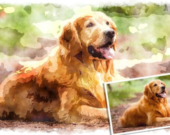 Watercolor Golden Retriever Portrait   Custom Watercolor Golden Retriever  Portrait   Watercolor Golden Retriever Painting From Your Photos