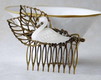 Swan Hair Clip / Ugly Duckling Hair Clip / Wedding Swan Hair Comb / Woodland Fascinator / Wedding Hair Piece / Elven Cosplay Hair Accessory