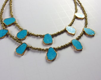 Brass and Turquoise Short Necklace