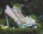 Alice in wonderland, bridal shoes, wedding shoes, customised shoes, felt corsage, custom made, ladies shoes, high heel, mid heel size 3-8 uk