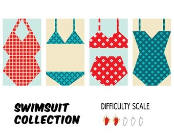 Swimsuit Collection paper pieced quilt pattern in PDF