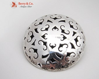 Mexican Modernist Openwork Pendant Or Brooch Sterling Silver