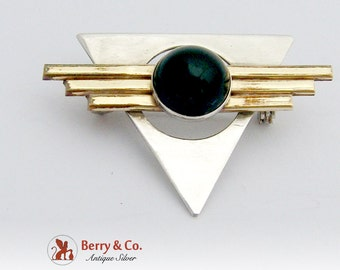 Sterling Silver Art Deco or Modernist Brooch Pin Onyx Gold Filled Accents